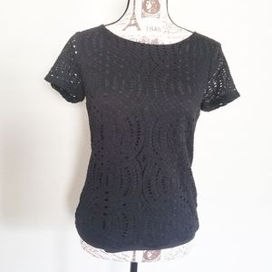 J. Crew Black Lace T-shirt Size 2